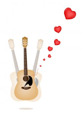Love Concept, A Beautiful Guitar Playing Romantic Music on Vintage Brown Stage Background with Copy Space for Text Decorated stock vector