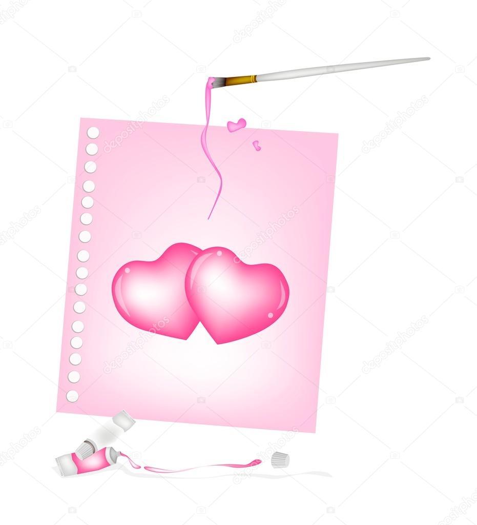 Sanatçı Fırça Ile Boya çizim Iki Kalp Tüpleri Stok Vektör Iamnee