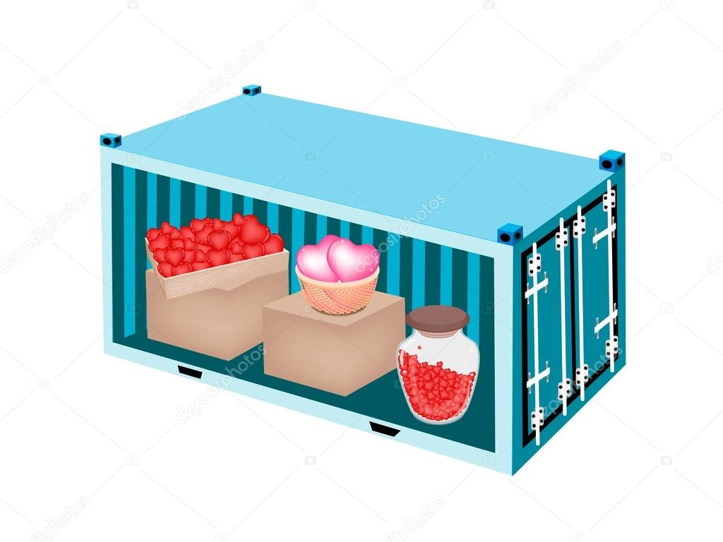 Stack of Hearts in A Cargo Container