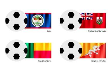 Soccer Ball with Belize, Bermuda, Benin and Bhutan Flag