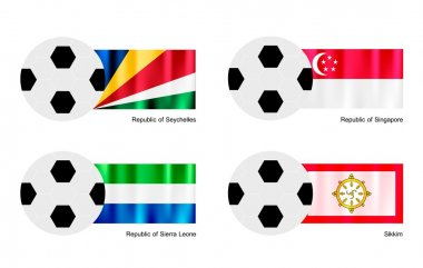 Soccer Ball with Seychelles, Singapore, Sierra Leone and Sikkim Flag
