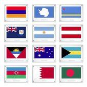 Fotografie Twelve National Flags on Metal Texture Plates