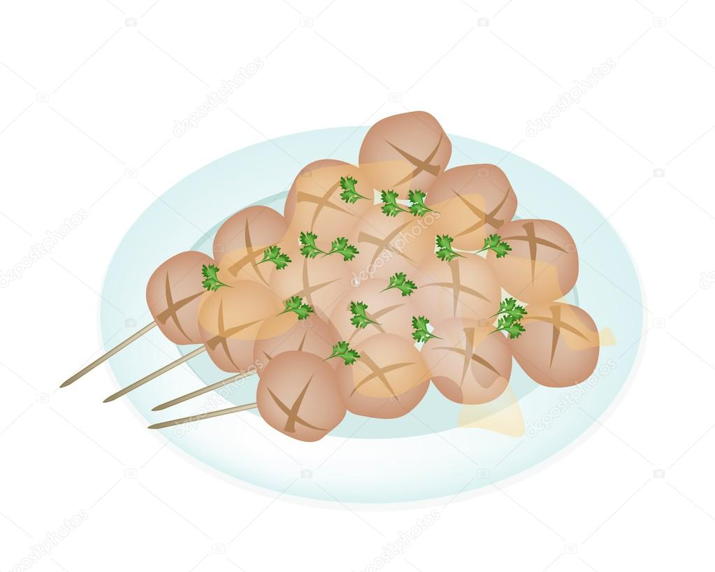Thai Style Grilled Meatball  in White Plate