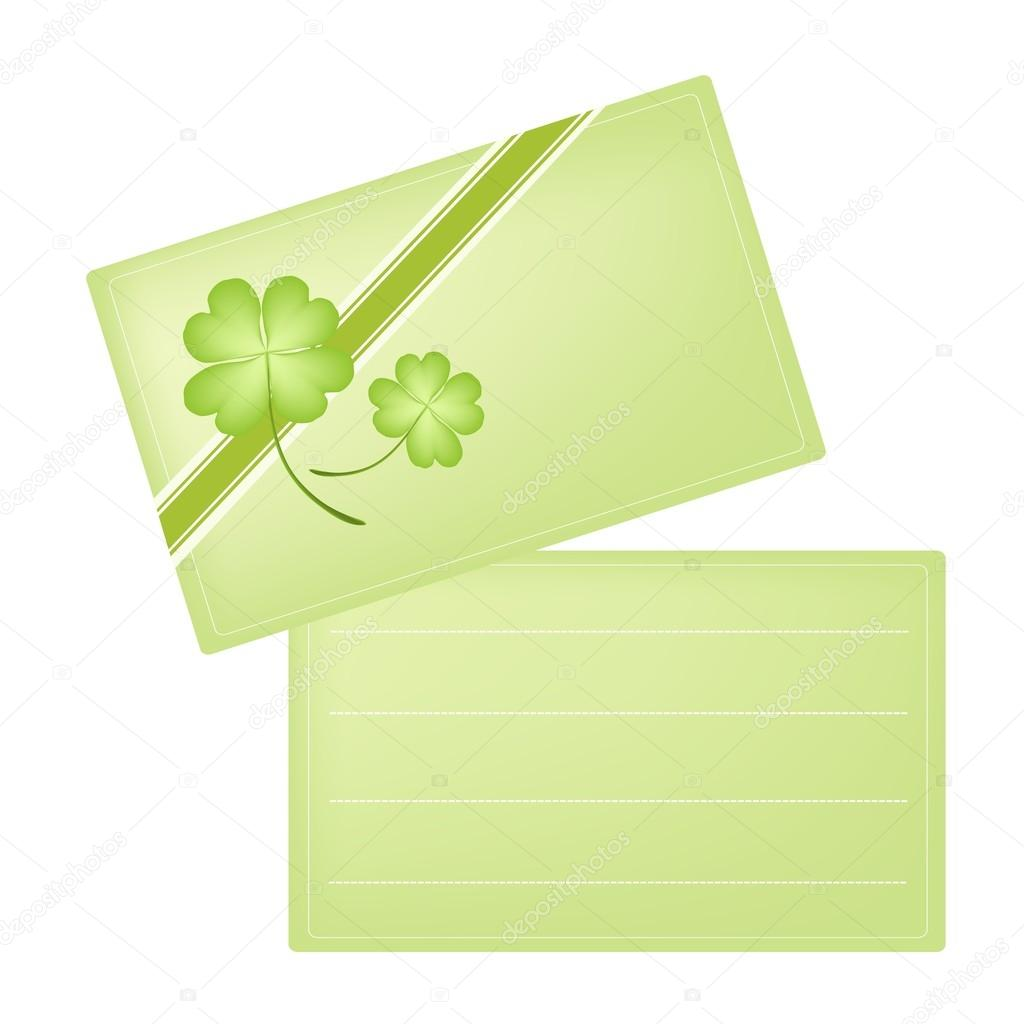 Green Greeting Card With Four Leaf Clovers Stock Vector Iamnee