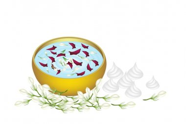 Jasmine and Roses in Water Bowl for Songkran Festival