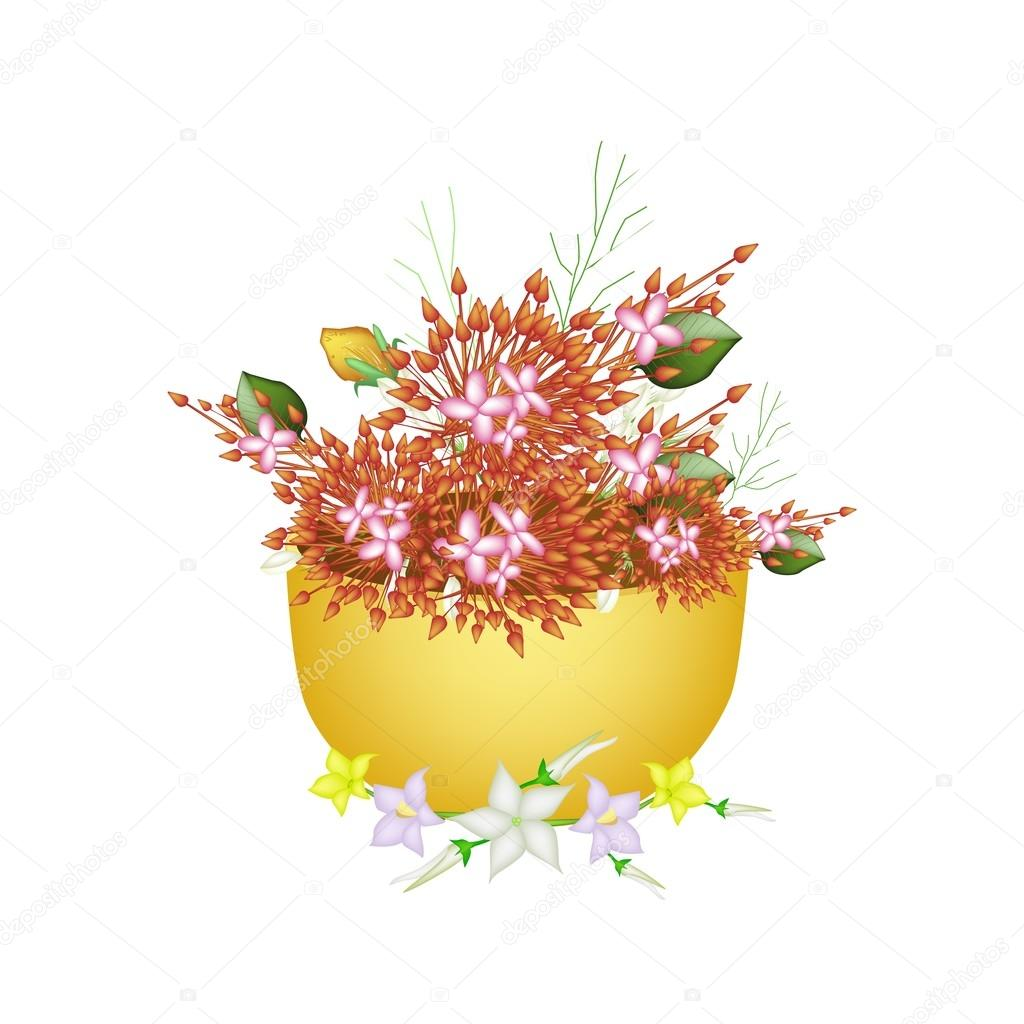 Ixora, Egg Plant Flower and Burmuda Grass in A Bowl