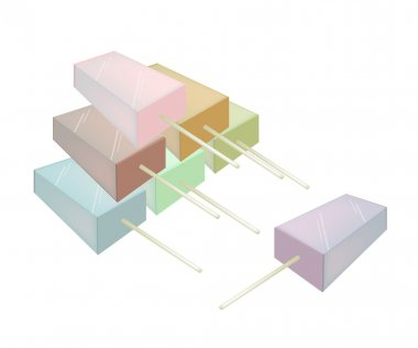Stack of Various Flavored Popsicle Ice Creams