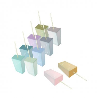 Row of Various Flavored Popsicle Ice Creams