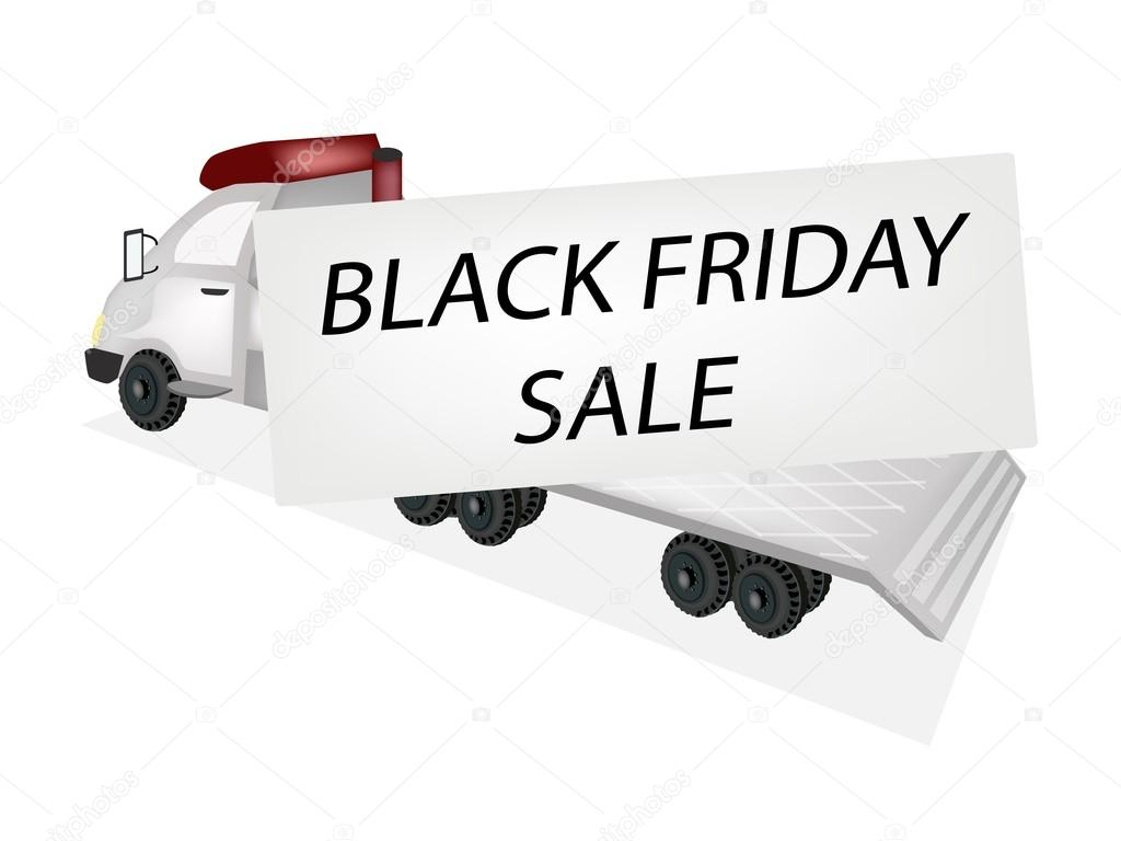 Tractor Trailer Flatbed Loading Black Friday Card — Stock Vector ...