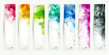 Set of seven varicolored banners, abstract headers with blots