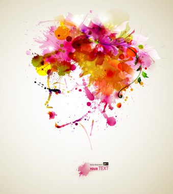 Beautiful fashion woman with abstract hair and design elements