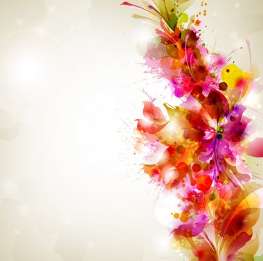 Abstract background with flower and design elements clip art vector