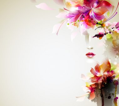 Beautiful fashion woman with abstract design elements