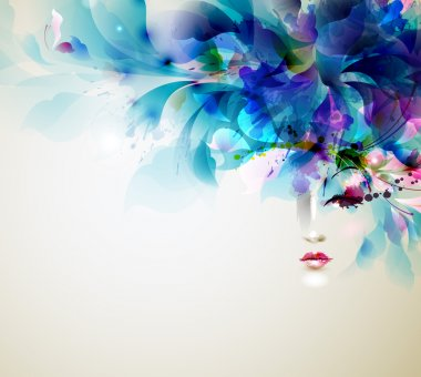 Beautiful abstract woman with abstract design elements