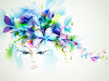 Beautiful fashion women face with abstract design elements clip art vector
