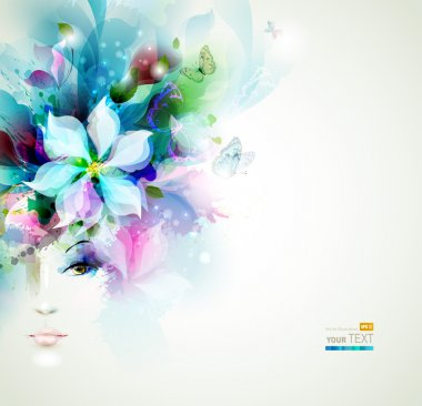 Beautiful fashion woman face with flower clip art vector