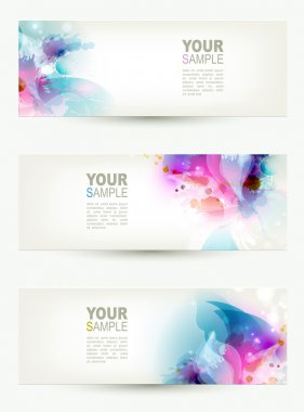 Set of three banners, abstract headers with blue and pink blots clip art vector