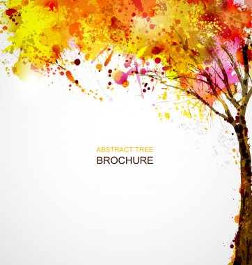 Autumn abstract tree forming by blots clip art vector