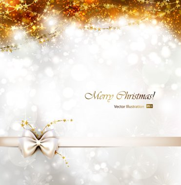 Christmas background with bow. clip art vector