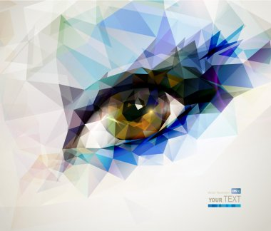Female eye created from polygons