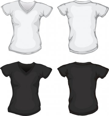 Black white female v-neck shirt template