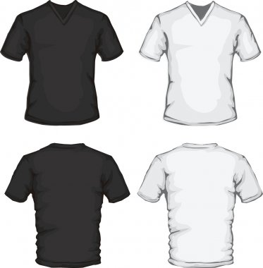 Vector illustration of white v-neck shirt template stock vector