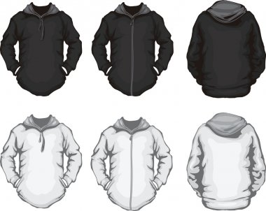Black white men's hoodie sweatshirt template