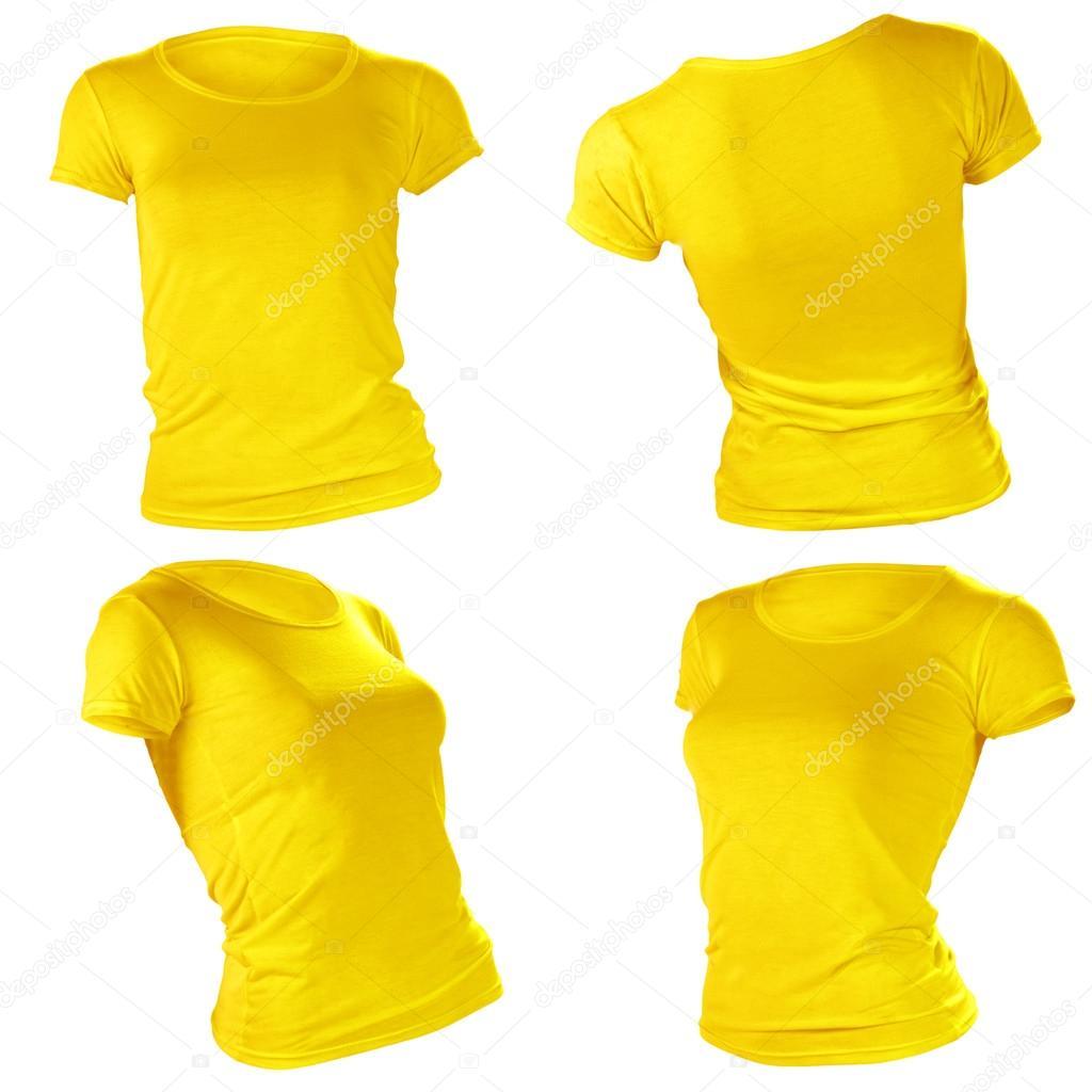 plantilla de camiseta amarilla en blanco de las mujeres — Fotos de ...