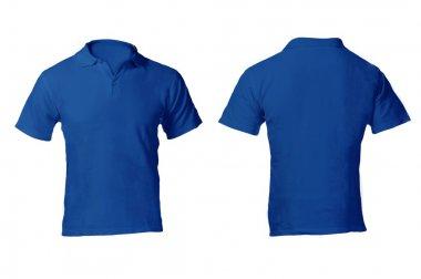 Men's Blank Blue Polo Shirt Template