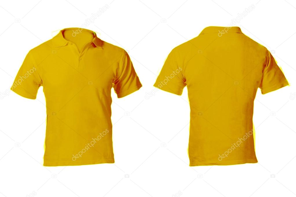 plantilla en blanco amarillo camisa de polo de los hombres — Fotos ...