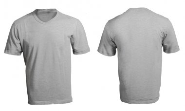 Men's Blank Grey V-Neck Shirt Template