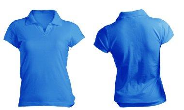 Women's Blank Blue Polo Shirt Template