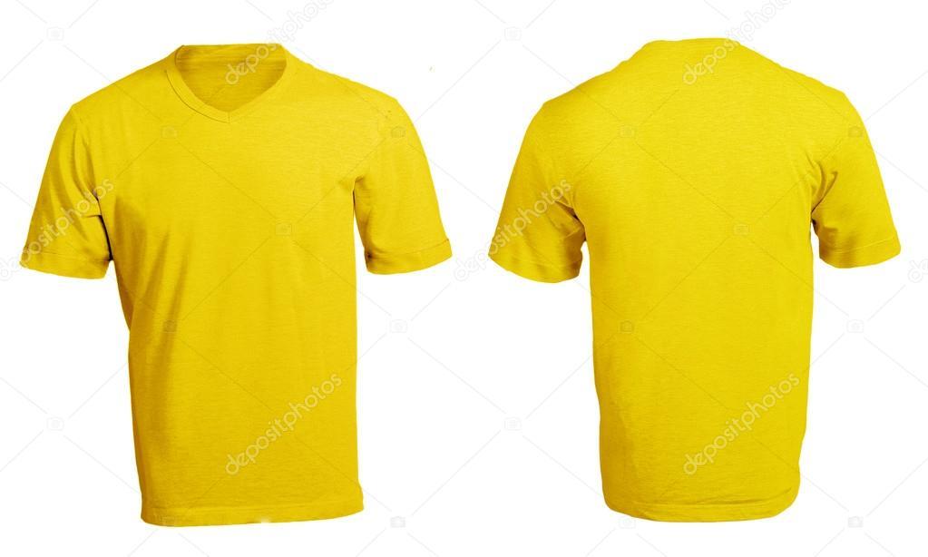 plantilla en blanco de camiseta del v cuello amarillo de