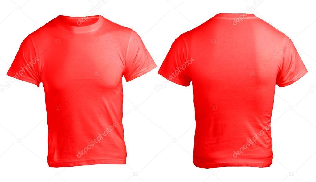 modelo de camisa vermelha em branco masculino — Fotografias de Stock ... 724a520f060e1