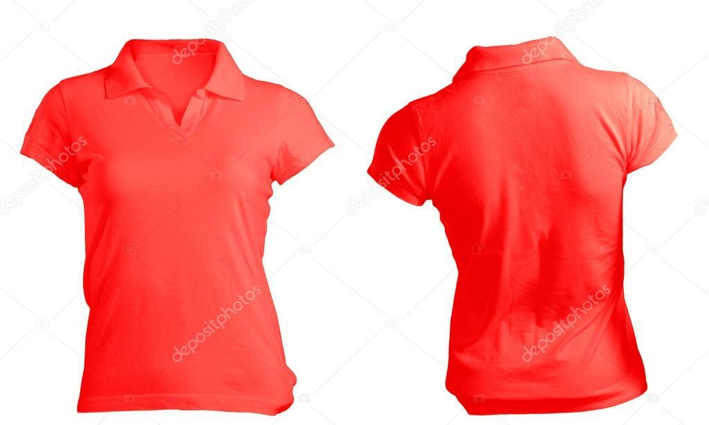 ea2c069adcae7 Modelo de feminino em branco camisa polo vermelha — Fotografia de Stock