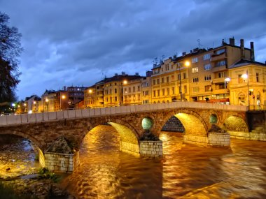Latin Bridge on Miljacko river at night, Sarajevo, Bosnia and Herzegovina