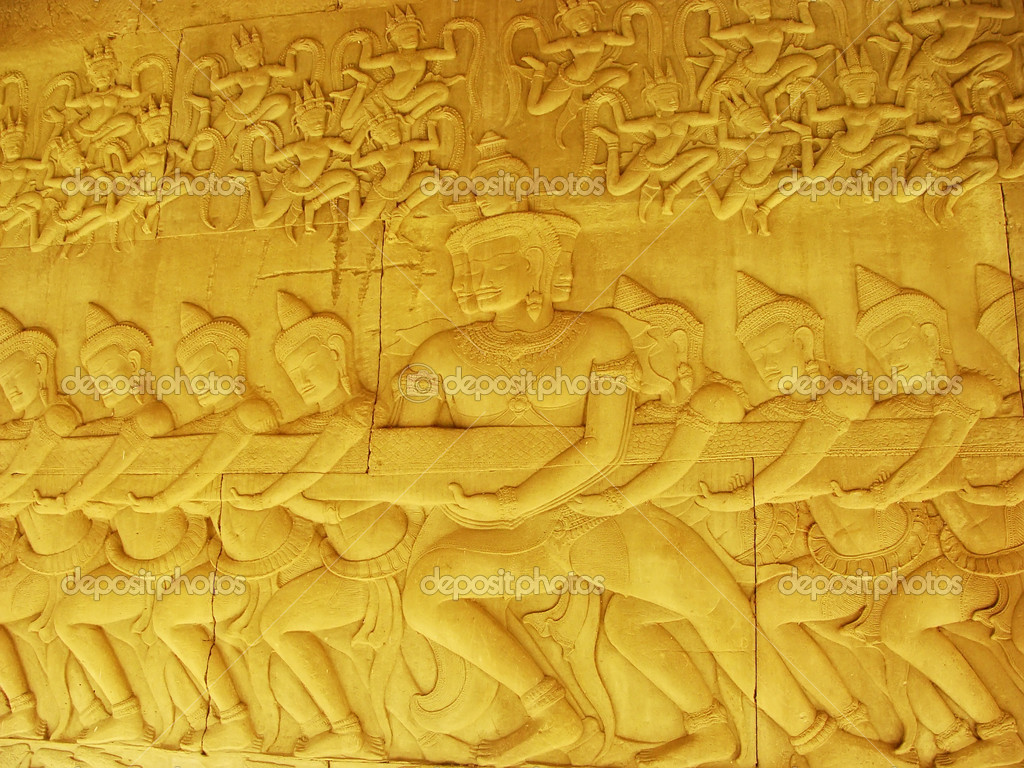 Wall bas-relief, Angkor Wat temple, Siem Reap, Cambodia — Stock ...