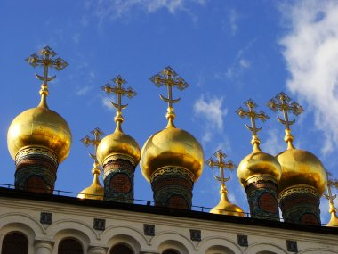 Domes of the Terem Churches, Moscow Kremlin Complex, Russia