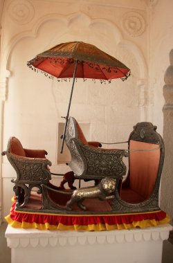 Palanquin on display at Mehrangarh Fort museum, Jodhpur, India