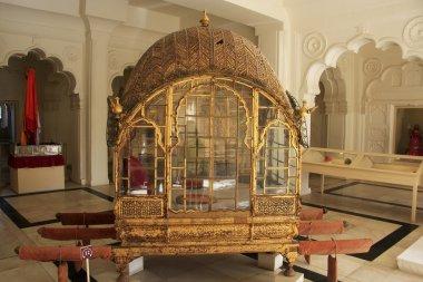 Palanquin on display at Mehrangarh Fort museum, Jodhpur, India