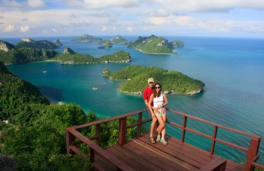 Couple standing at view point, Ang Thong National Marine Park, T