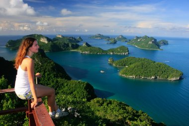 Young woman sitting at the view point, Ang Thong National Marine