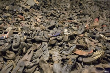 OSWIECIM, POLAND - OCTOBER 22: Boots of victims in Auschwitz II, a former Nazi extermination camp on October 22, 2012 in Oswiecim, Poland. It was the biggest nazi concentration camp in Europe.