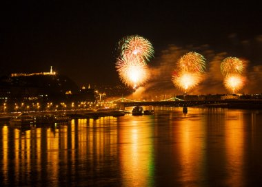 BUDAPEST, HUNGARY - AUGUST 20: With fireworks over the Danube river end the ceremonies of the annual constitution day of Hungary on August 20, 2012 in Budapest, Hungary.