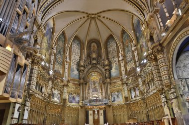 MONTSERRAT, SPAIN - SEPTEMBER 10: Interior of the sanctuary of Mare de Deu hosting the Black Virgin Catalonias favourite saint on 10 september, 2012 in Montserrat, Spain.