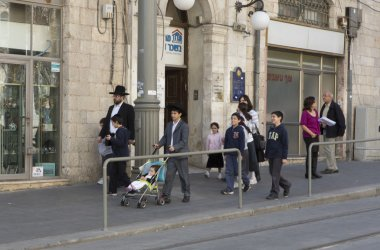Hasidic jews walking