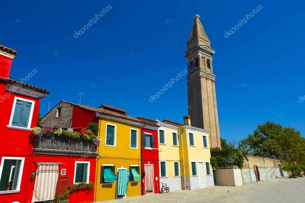 the bright pastel coloured houses on burano island in the