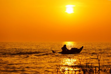 Sunset on the Tonle sap Lake, Cambodia