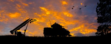 Anti-Aircraft Missile and Tank Silhouette