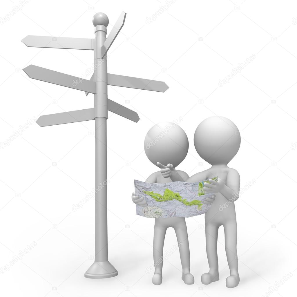 3d people standing at a signpost with a map